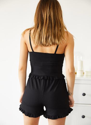 XHAN Gül Kurusu Ip Askılı Fırfırlı Pijama Takımı 0Yxk8-43755-65 Siyah
